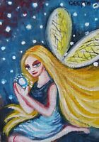ACEO original miniature painting WaterColor Art - Fairy ~