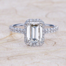 2.95ctw Emerald Cut NEO Moissanite Halo Engagement Ring in 14K White Gold