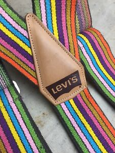 Vintage Levi's 3 Point Suspenders wide Rainbow Elastic & Leather for your denim