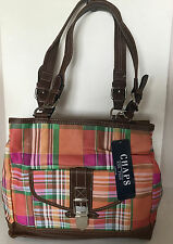 CHAPS RALPH LAUREN TRAVELER ORANGE AVALON MADRAS SATCHEL TOTE BAG PURSE $89 SALE