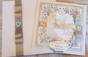 Wedding Card Personalised Large Handmade 8x8 inch 3D card with box