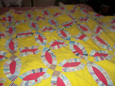 Vintage Sunny Yellow DOUBLE WEDDING RING Quilt~Hand Quilted Early Feedsacks