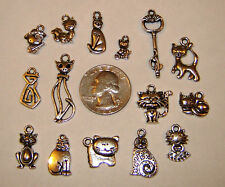 Lot of 15 Different Silver Cat Theme Charms / Pendants No Repeats Great Mix!