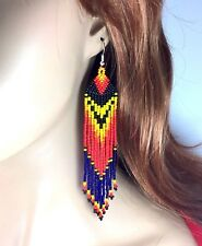 NEW NATIVE STYLE SEED BEADED HANDMADE LONG FASHION HOOK EARRINGS E58/19