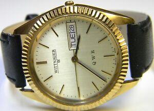 mens Longines Wittnauer President Calendar Day Date Gold Plated Dress watch