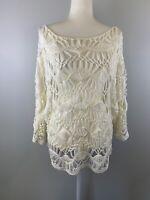 Minkpink Size XS White Boho Crochet Top Off Shoulder Festival Mink Pink Hippie