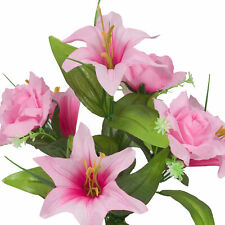Artificial Silk Lilly Flowers for Wedding Valentines Memorial Graveside - Pink