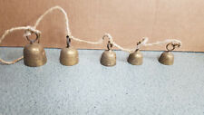 Vintage Etched Brass Bells on Rope Cord Wind Chime / Door set of 5