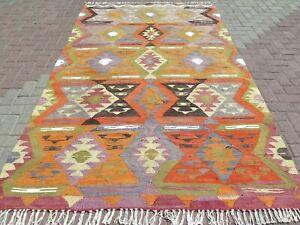 "Vintage Anatolia Turkish Barak Kilim Orange Colored 66,9""x111"" Area Rugs Carpet"