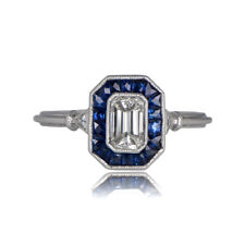 Fancy 0.55Ct VS1 Bezel-Set Emerald Cut Diamond Art Deco Wedding Engagement Ring