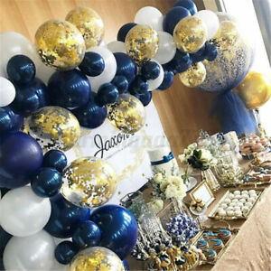 61Pcs Balloon Arch Garland Kit Navy Blue and Gold Confetti Party Decoration