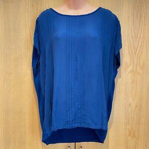 Hobbs Size L (14-16) Blue Silk Front Panel / Knit Back Top Jumper Blouse