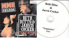 BETH DITTO & JARVIS COCKER Temptation Live 2008 UK 1-trk promo test CD NME