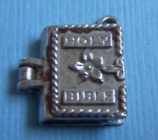Vintage English movable Holy Bible opens to cross sterling charm