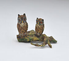 Vienna Austria Cold Painted Miniature Bronze Owl Figures