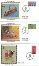 Canada Sc# 839-841 Antique Toys Fdc. Christmas 1979 .Colorano Silk Cachet.