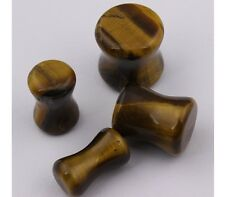 Pair of Organic Tiger Eye Stone Saddle Plugs 5mm-18mm