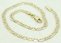 "14K Y & W Two Tone Gold Mariner Link Anklet Dia Cut Textured Italian 10.25"" M955"