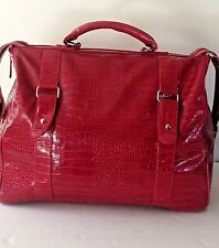 Big BATH And BODY WORKS Tote Bag Faux Leather Purse Large Travel Shopper Duffel