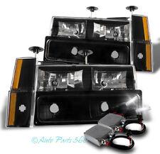 88-93 CHEVY/GMC C/K CRYSTAL HEADLIGHT LAMP BLACK W/BUMPER+CORNER+50W 6K HID KIT