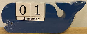 Blue Whale Wooden Day and Month Calendar