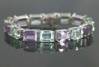 15CT Emerald Cut Amethyst & Aquamarine 14K White Gold Over Women Tennis Bracelet