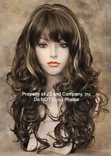 BOUNCY LONG WAVY Curly Light Brown mix WIG with bangs JSCA 8-12-24