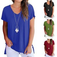 Women Cotton Short Sleeve V Neck T Shirt Basic Tee Top Plain Casual Shirt Blouse