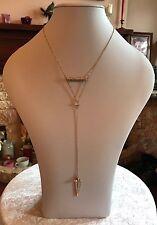 """Gold Tone 18"""" Angel Feather & Diamanté Cubic Zirconia Lariat Necklace (A191)"""