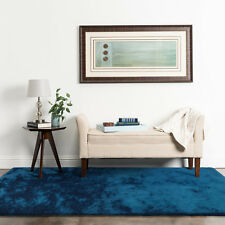 Luxury Large Shaggy Shag Floor Rug Blue Sapphire Soft Thick & Thin Pile 200x290