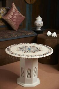 """24"""" in Round Coffee Table Handmade with Inlay Gemstones and Filigree Art Work"""
