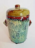 """Mottled Pottery Glazed Multi-Colored Jar Container W/Lid 9""""X8"""" Vtg Home Decor"""