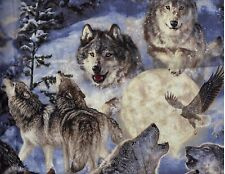 BTY HOWLING WOLVES EAGLES MOON Print 100% Cotton Quilt Crafting Fabric by Yard
