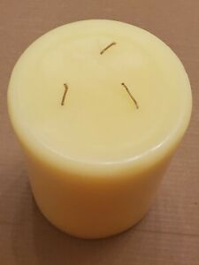 """PartyLite 3-wick Candle 6"""" Diameter by 8"""" Tall Pear Yellow New Never Burned 2560"""