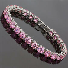 Fashion Jewelry Round Cut Pink Sapphire Dainty Tennis Bracelet