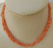 VINTAGE CORAL BEADS NECKLACE / COLLIER DE PERLES EN CORAIL ROSE VERITABLE-N°3