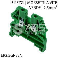 5X ER2.5GREEN MORSETTO A VITE PASSANTE BARRA GUIDA DIN 2.5mm² 600V 20A VERDE 2,5
