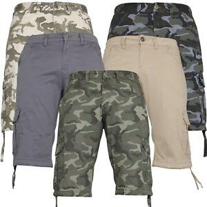 Mens Combat Camo Shorts Cargo Gym pockets Casual Work Knee Length Shorts