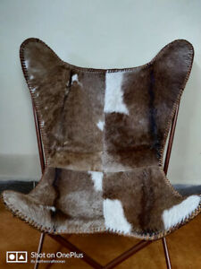 leather butterfly chair, hair-on butterfly cover with gold folding frame