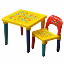 Kids Table and Chair Set ABC Alphabet Childrens Plastic Toddlers Childs BOXED