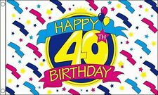 Happy 40th Birthday Party Banner 5'x3' Flag