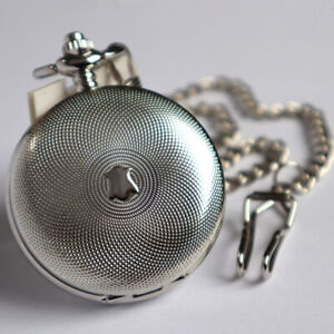 Silver Steel Double Hunter Steampunk Mechanical Pocket Watch Fob Chain Gift