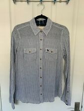 Abercrombie and Fitch Women's Blue and White Striped Shirt Size M