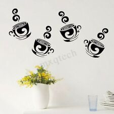 Removable Coffee Tea Cups Wall Stickers Art Decal For Home Kitchen Cafe Decor