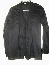 Converse One Star Womens Long Sleeve Button Ruffle Cotton Top Tunic Sz XS