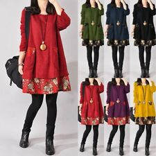 AU 8-24 Women Winter Boho Retro Floral Knit Mini Dress A Line Jumper Sweater Top