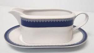 Ralph Lauren HASTINGS COBALT Porcelain China Gravy Boat & Under Plate New Unused