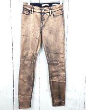 Womens Guess Power Skinny Metallic Snakeskin Jeans 25 Stretch Midrise Bronze