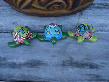 Turtles Ceramic Talavera 3 Mini Turtles Home Kitchen Patio Garden Pottery Decor