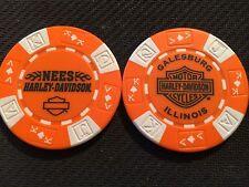 "Harley Davidson Poker Chip (Orange & White) ""Nees H-D"" Galesburg, Illinois"